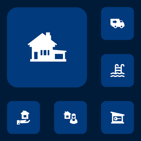 Set of 6 real icons set. Collection of key, estate, delivery and other elements. Ilustração