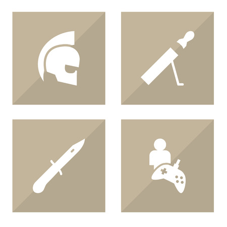 Set of 4 game icons set. Collection of infantry knife, rpg, gamer and other elements.