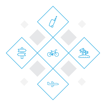 Set of 5 journey icons line style set. Collection of island, signpost, plane elements.