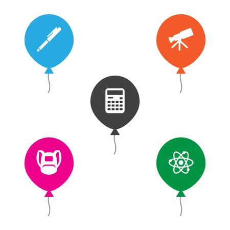 Set of 5 knowledge icons set. Collection of calculator, schoolbag, pen and other elements.