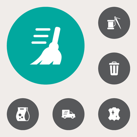 Set of 6 harvesting icons set. Collection of leather, trash can, express cleaning and other elements. Illustration