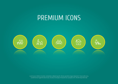 Set of 5 people icons line style set. Collection of house, married, father with son and other elements.