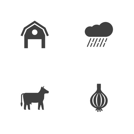 Set of 4 agriculture icons set. Collection of cow, barn, rain and other elements.