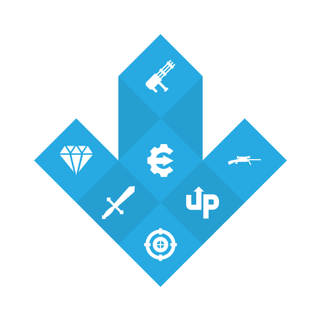 Set of 7 gaming icons set. Collection of shotgun, sword, level up and other elements. Stock Photo