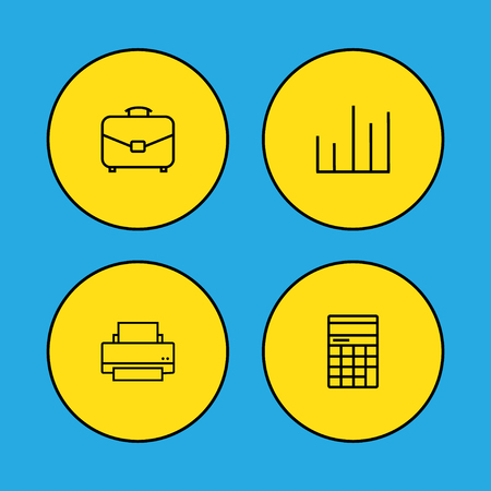 Set of 4 bureau icons line style set. Collection of diagram, printer, calculator and other elements.