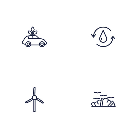 Set of 4 atmosphere icons line style set. Collection of rubbish, windmill, car and other elements. Ilustrace