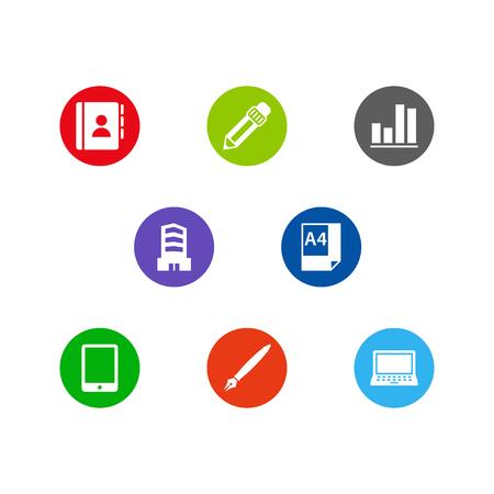 Satz von 8 Schranksymbolen eingestellt. Sammlung von Diagrammen, Telefonverzeichnissen, Tablets und anderen Elementen. Standard-Bild