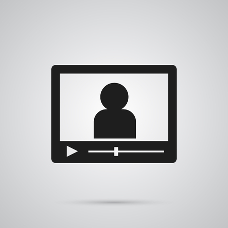 Isolated video blogger icon symbol on clean background. Vector vlog element in trendy style.