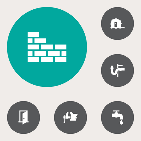 Set of 6 architecture icons set. Collection of door, plumbing, brickwork and other elements.