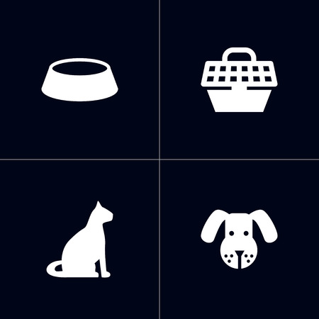 Set of 4 mammal icons set. Collection of dog, bowl, carries and other elements. Stock Photo