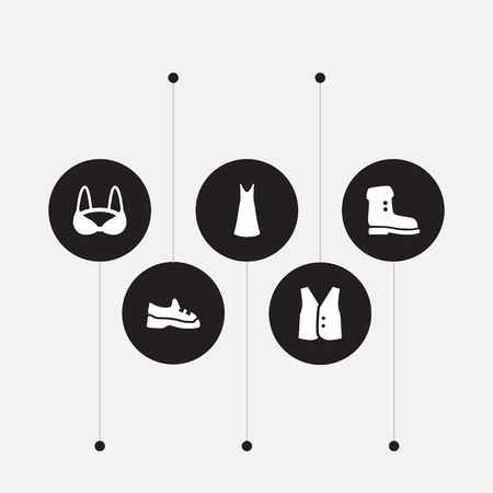 Set of 5 clothes icons set. Collection of boot, slip dress, trainers and other elements.