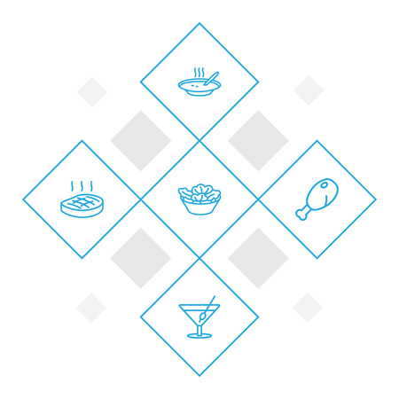 Set of 5 food icons line style set. Collection of martini, broth, lettuce and other elements.