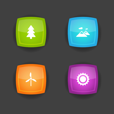 Set of 4 bio icons set. Collection of electric mill, mountain, fir tree and other elements. Illustration