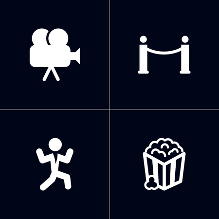 Set of 4 pleasure icons set. Collection of movie cam, popcorn, dancing man and other elements.