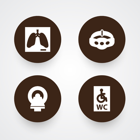 Set of 4 healthy icons set. Collection of mri scanner, belly band, handicapped wc elements. Ilustrace