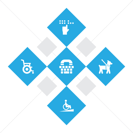 Set of 5 accessibility icons set. Collection of springboard, blind, guide dog and other elements.