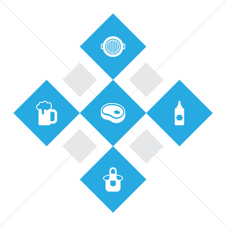 Set of 5 picnic icons set. Collection of beer, tomato sauce, steak and other elements.