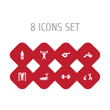 Set of 8 fitness icons set. Collection of dumbbell, pulls up on horizontal bar, burpees and other elements.