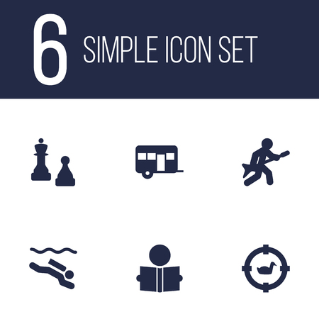 Set of 6 entertainment icons set. Collection of camping, hunting, diving and other elements.
