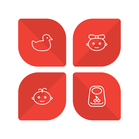 Set of 4 baby icons line style set. Collection of baby, breastplate, duck and other elements.