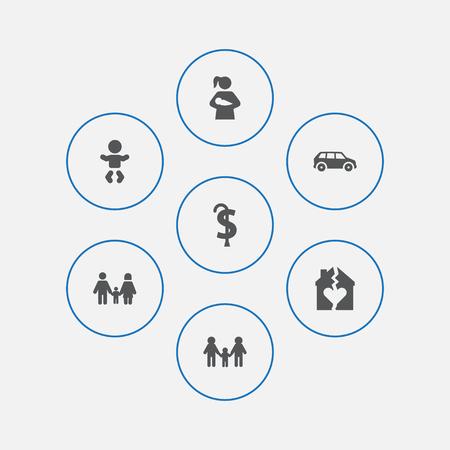 Set of 7 family icons set.