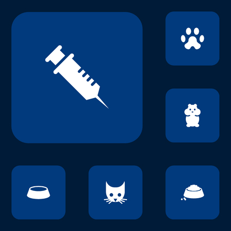 Set of 6 pets icons set. Collection of head, vaccination, puppy and other elements.