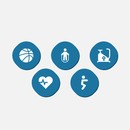 Set of 5 bodybuilding icons set. Collection of jump training, squat, exercise bike and other elements.