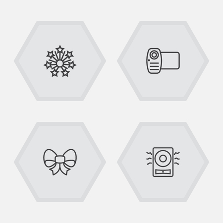 Set of 4 cocktail icons line style set. Collection of camera, ornament, fireworks and other elements. Illusztráció