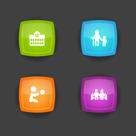 Set of 4 family icons set. Collection of couple, grandpa, boy elements. Banco de Imagens