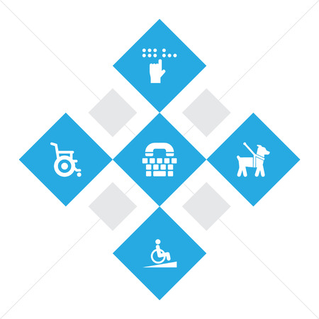Set of 5 disabled icons set. Collection of springboard, blind, guide dog and other elements.