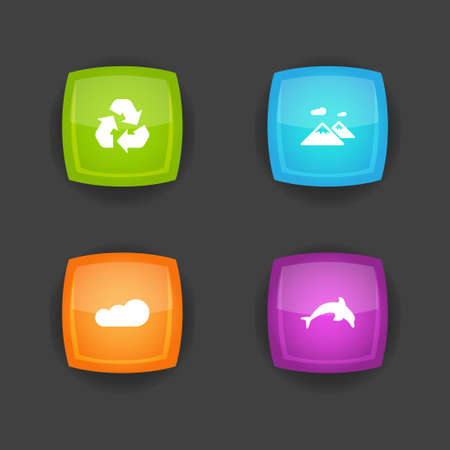 Set of 4 ecology icons set. Collection of recycle, cloud, dolphin and other elements.