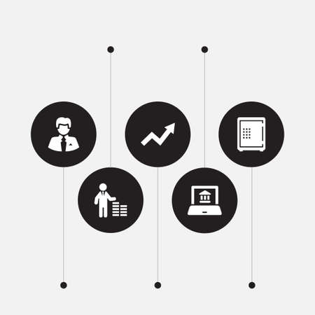 Set of 5 budget icons set. Collection of financier, businessman, graph and other elements.