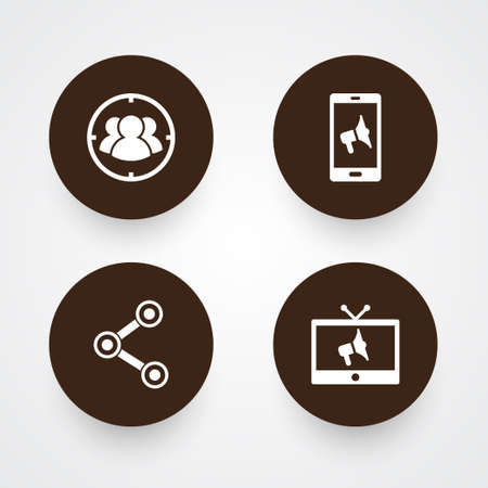 Set of 4 advertising icons set. Collection of target, mobile marketing, social media ads and other elements. Stockfoto