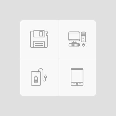 Set of 4 notebook icons line style set. Collection of diskette, palmtop, computer and other elements.