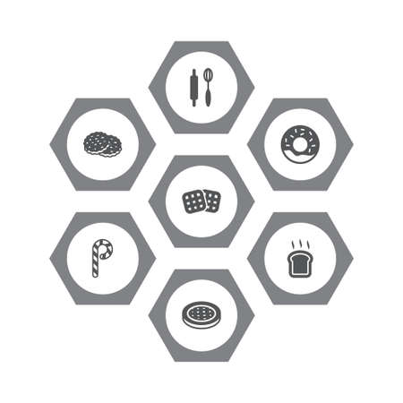 Set of 7 food icons set. Collection of apple pie, cookie, toast and other elements. Stockfoto