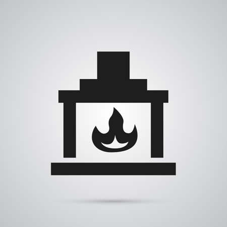 Isolated fireplace icon symbol on clean background. chimney element in trendy style.