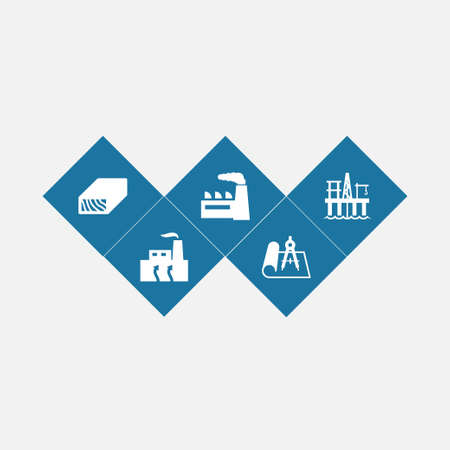 Set of 5 industrial icons set. Collection of oil platform, industry, blueprint and other elements. 向量圖像