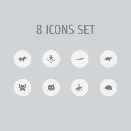 Set of 8 zoo icons set. Collection of cat, butterfly, bee and other elements.