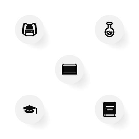 Set of 5 science icons set. Collection of graduation cap, backpack, school board and other elements.