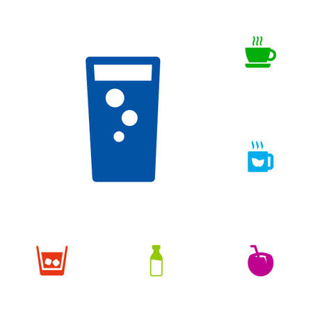 Set of 6 drinks icons set. Collection of fizzy water, coconut, whiskey and other elements.