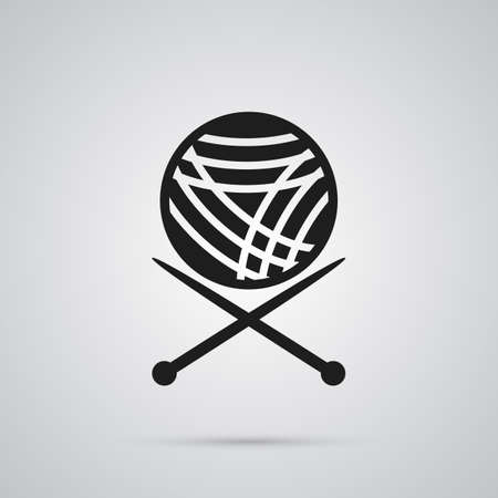 Isolated knitting icon symbol on clean background. Vector yarn element in trendy style. Stock Illustratie
