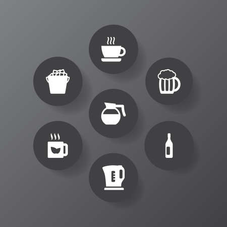 Set of 7 drinks icons set. Collection of kettle, hot drink, beer and other elements.