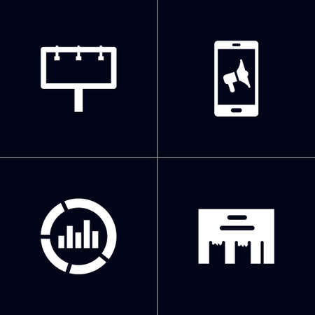 Set of 4 commercial icons set. Collection of mobile marketing, direct message, billboard and other elements.