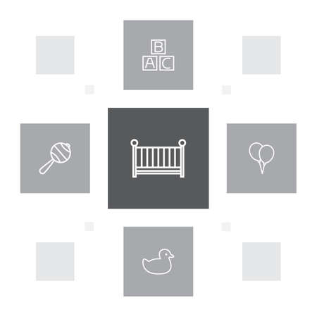 Set of 5 baby icons line style set. Collection of cot, abc block, duck and other elements.