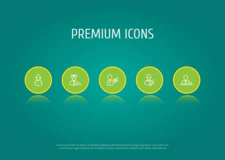 Set of 5 professions icons line style set. Collection of driver, director, waiter and other elements. Stockfoto