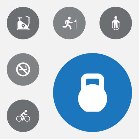 Set of 6 fitness icons set. Collection of no smoking, kettlebells, cyclist and other elements.