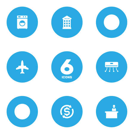 Set of 6 motel icons set. Collection of reception, aircraft, hotel and other elements. Stock Illustratie