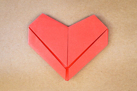 Valentines day postcard, paper red heart, Love card photo