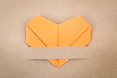 paper orange heart, Love card, Love postcard photo