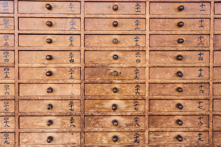 drawers: Wooden drawers with Japanese Stock Photo